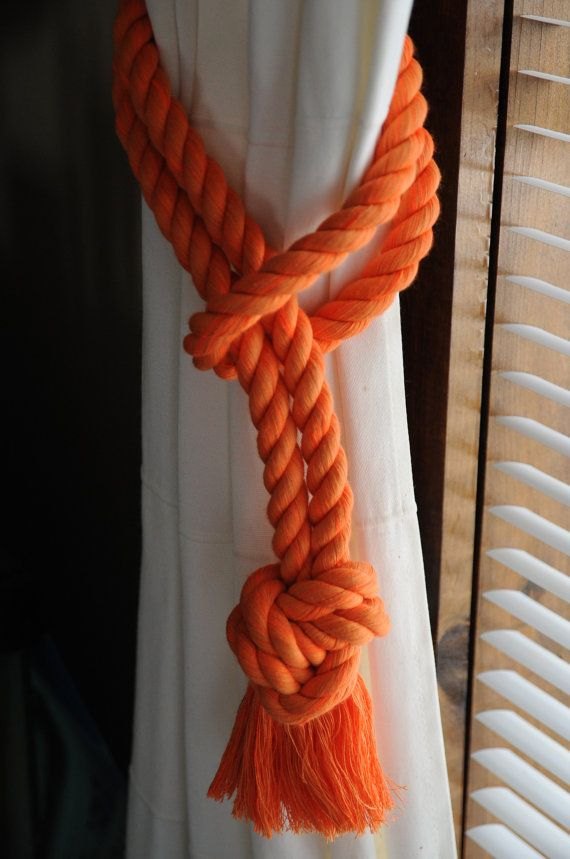 Nautical Decor Orange Curtain Tiebacks Nautical Gifts by OYKNOT