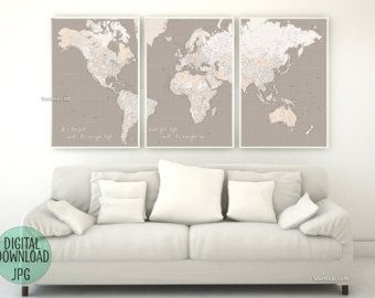 Personalized map, custom quote: Highly detailed world map printable with cities, Large world map, 3 panels poster, Gift for him - Map151 011