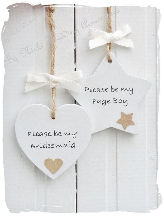 Will you be my...... Wooden Heart or Star Bridesmaid / by bynicki, $4.00                                                                                                                                                     More