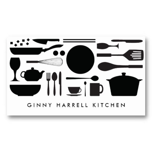 BLACK AND WHITE KITCHEN COLLAGE for Catering, Chef Business Card Templates
