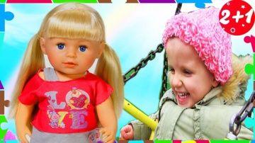 """Влог ПРОГУЛКА и кукла Беби Бон Сестренка. Играем в куклы Катя. Baby born dolls http://video-kid.com/13259-vlog-progulka-i-kukla-bebi-bon-sestrenka-igraem-v-kukly-katja-baby-born-dolls.html  Влог прогулка с куклой беби бон baby born,  Кукла Катя. Прогулка с куклами, играем в дочки матери, пупсики. Беби бон сестренка. Веселая прогулка.Новые серии  """"Мульти Пульти Осень"""": Все серии """"Активное Лето"""": СМОТРИТЕ  Рельное Детство 2+1**************************************Привет! Нас зовут Святик…"""