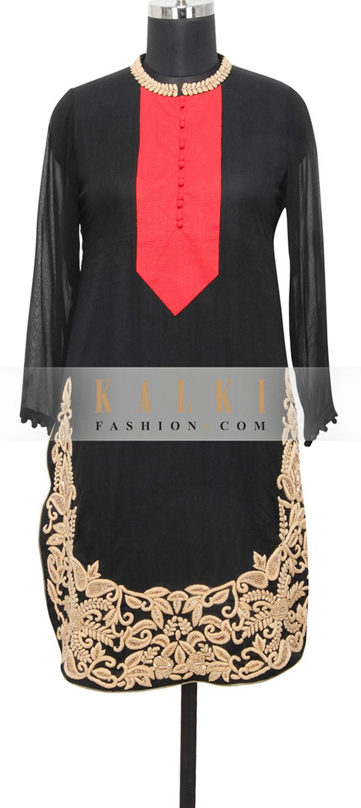 Buy Online from the link below. We ship worldwide (Free Shipping over US$100)  http://www.kalkifashion.com/black-georgette-kurti-in-zardosi-and-thread-only-on-kalki.html