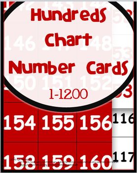 Pocket Chart Number Cards that fit perfectly onto a pocket chart hundreds chart.  Numbers range from 1-1200.  Great for games and counting. $5