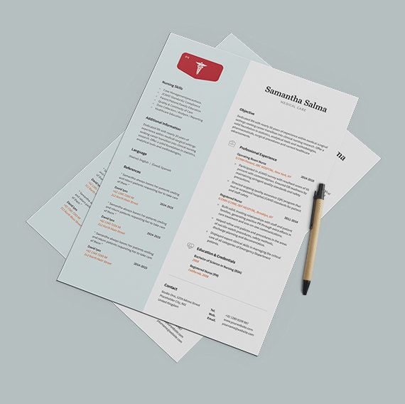 Nurse Resume Template Instant Download  Cover Letter  by papernoon