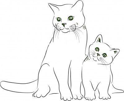 Gatos en familia para colorear.