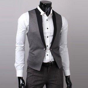 - Mens Wear Dark Gray Waist Coat-14094 - LIEBE MODE is german and means LOVE FASHION. - Mens wear dark gray waist coat.