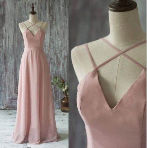 Charming Pink Prom Dress,Long Prom Dresses,Sexy Backless Prom Dresses,Chiffon Floor Length Evening Dress