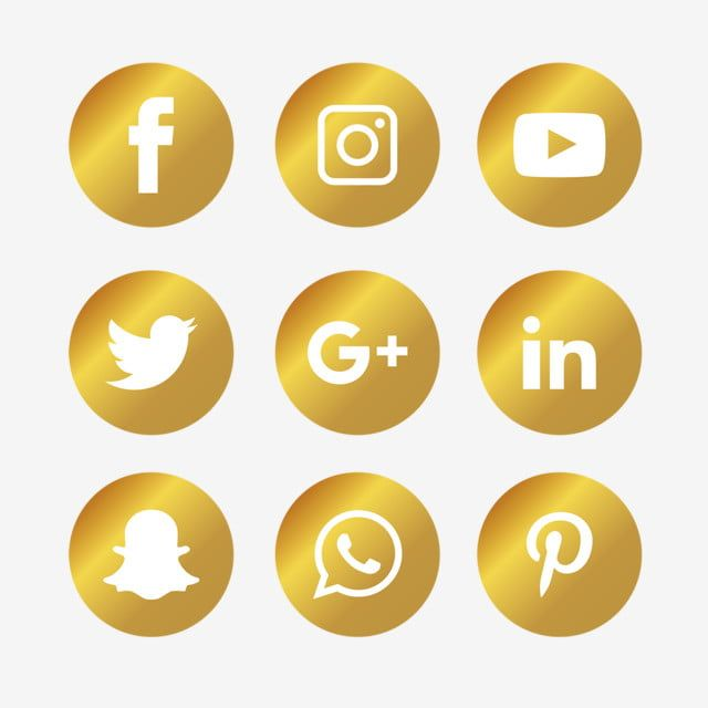 Golden Social Media Icons Set Social Icons Media Icons Social Media Png And Vector With Transparent Background For Free Download Social Media Icons Social Media Logos Media Icon