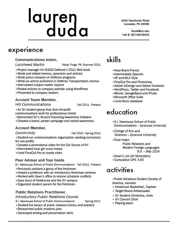 resume design i like the two column style of this and