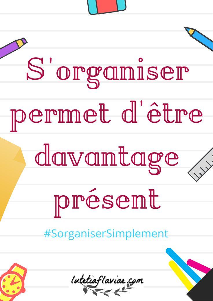 """""""S'organiser permet d'être davantage présent."""" est une citation extraite de mon ebook S'organiser Simplement. Pour faire de l'organisation une force, découvrez mon ebook sur lutetiaflaviae.com !"""