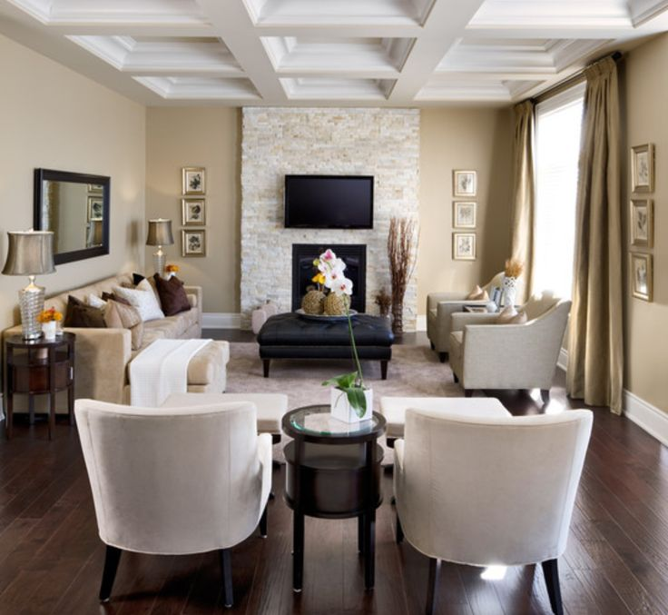 Decorating A Long Narrow Living Room With Fireplace Under Flat Screen Tv And Using Black Leather Square Ottoman Coffee Table Also White Ceiling Designs | Antiquesl.com