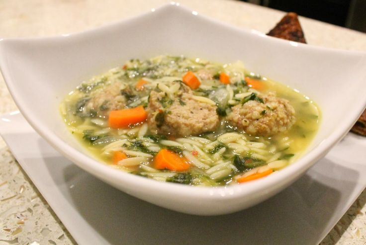 ... Wedding Soup with Turkey Meatballs & orzo #healthy #soup #recipe