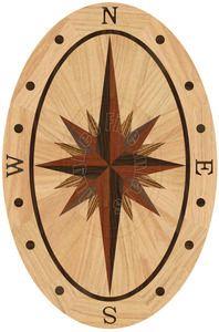 "Hardwood Floor Medallion Sailors Sky Oval - Red Oak 36"""