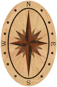 Hardwood Floor Medallion Sailors Sky Oval - Red Oak 36""