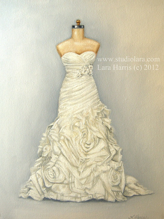 #CUSTOM #Wedding #Dress #Illustration #Painting in OIL on #etsy (dress by Alfred Angelo Sapphire Style 870) #weddings #bride #bridalshower