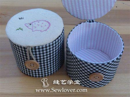 МК коробочки для мелочей  http://www.sewlover.com/home/tutorial/cylinder_box.html