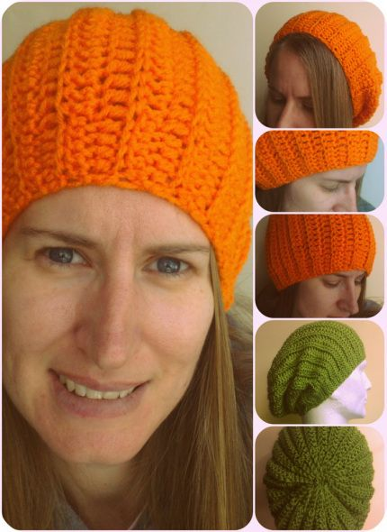 Ribbed crochet hat. Can be a beanie or a slouch.      //       This site has pix of about 50 hats. Click on the pix to go to the video of the pattern.     //     Most patterns have written directions also.     //      Most patterns are in multiple sizes, newborn to adult.     // WOW!!