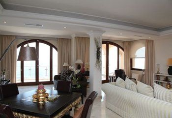 This superb modern 4 bedroom villa sits in a waterfront position in the quiet residential area of Sol de Mallorca, a short drive from Puerto Portals and the beaches of Portals Vells. With wonderful sea views, a 10 metre swimming pool, air conditioning and Sky TV channels this is a beautiful holiday home in an unspoilt location.