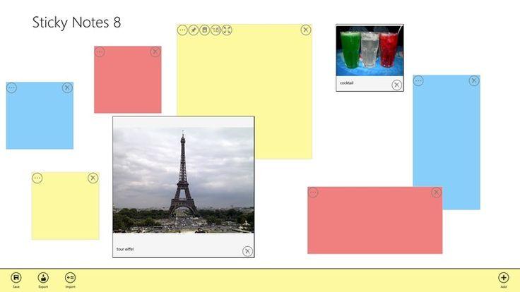 Sticky Notes 8. Jednoduchá aplikace k post-it poznámkovým lístkům. Na interaktivce se dá použít např. při aktivitě v hodině spojené s vyhledáváním informací, jejich zaznamenávání na lístečky a následně k jejich kategorizaci - dá se s nimi volně hýbat po ploše a shlukovat je. Zdarma.