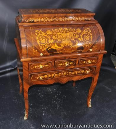 French Louis Xv Roll Top Desk Bureau Writing Table Inlay
