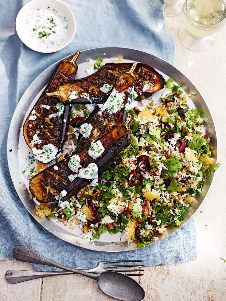 Smoky aubergine and crunchy, aromatic jewelled rice are married together with a tangy and fresh garlicy dressing in this Middle-Eastern inspired recipe.