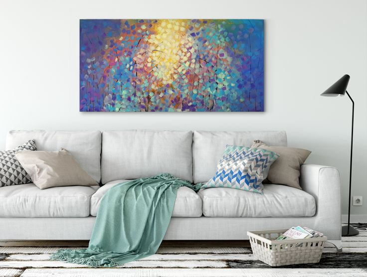 """Large Fall Abstract Artwork 24"""" x 48"""" x .75""""  A kaleidoscope of opulent blues and luminous yellows and the unique brush strokes adds vividly to the artwork creating a """"decoupage"""" effect.    https://www.etsy.com/ca/listing/472904320/large-acrylics-abstract-contemporary-art?ref=listing-shop-header-2"""