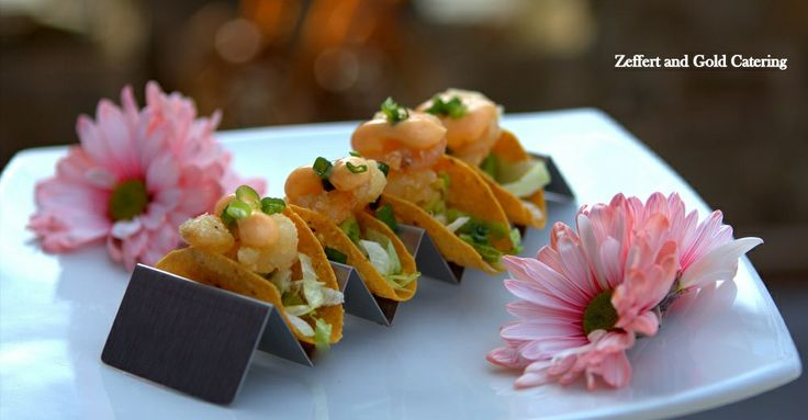 new wedding appetizer is a miniature shrimp taco with a spicy Asian ...