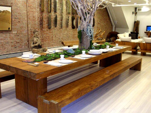 Dinner for eight, with salvaged tree limb centerpiece ..