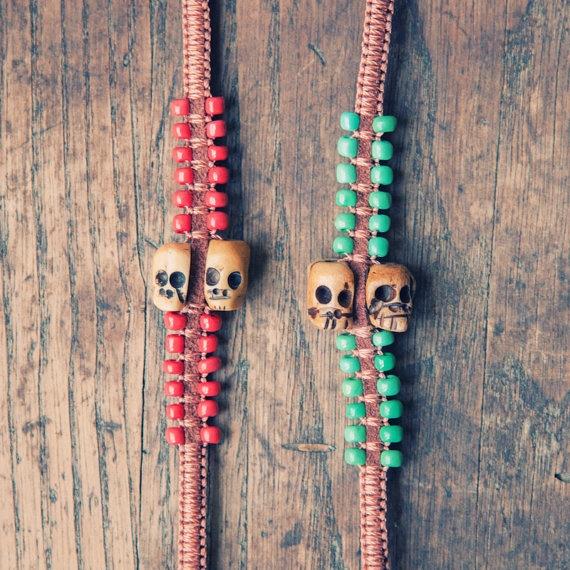 African Tribal Bracelets w/ Voodo Skulls Gypsy Fashion - Pick Two Pack