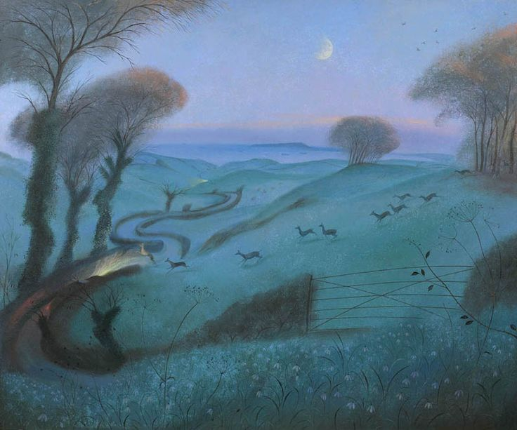 NICHOLAS HELY HUTCHINSON  Running Deer in the Fading Light Oil on canvas 40 x 48 ins