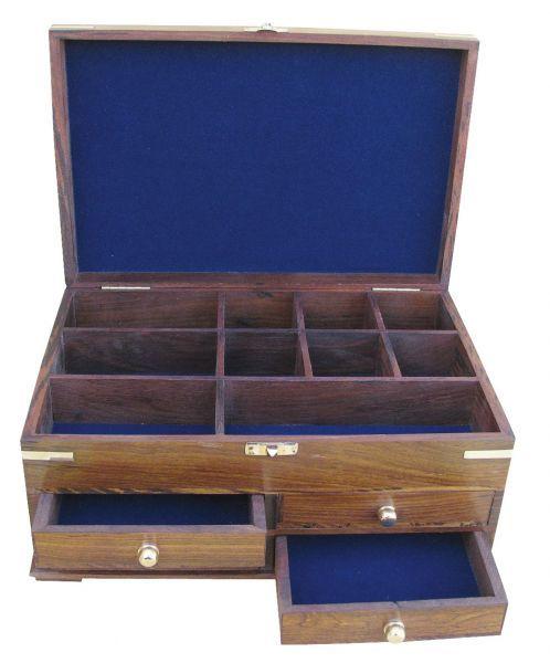 Maritime Utensilienbox Holz, 10 Fächer & 4 Schubladen
