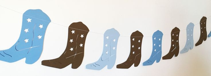 Cowboy Boot Garland in Baby Blue, Blue, Brown for Birthday Parties, Baby Showers, Rodeo Party, Baby Nursery, Western Themed Party by thepapercove on Etsy