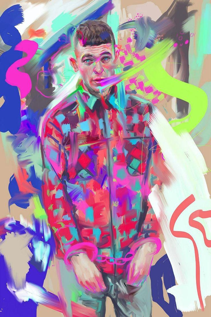 digital painting art work by @2l.cat instagram -2l.cat #portrait #painting #digitalpainting #artwork #psychedelic #illust #art #kunst #neon #glitch #photo #snap