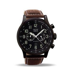 Montre Aviateur Homme Acier Noir Chronographe Etanche 50M Bracelet Cuir Marron Davis 0452BR