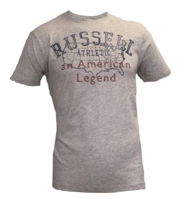 Vintage Tees: Washed C-Neck Summer Tee with Distressed Print – Light Grey