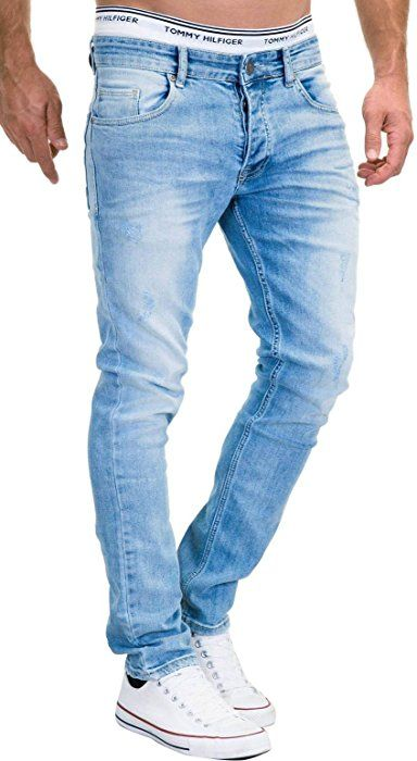 MERISH 5-Pocket Denim Jeans Herren Slim Fit Used Design Modell J3014  Hellblau 36- 0c7ca45881