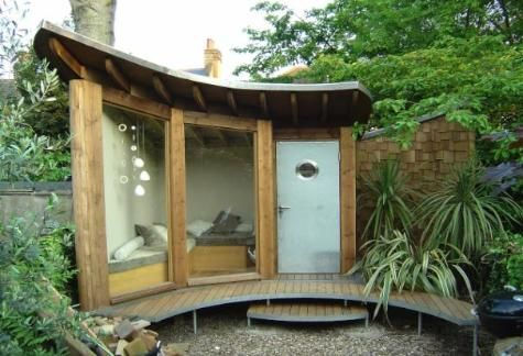 More and more sheds are turning into artist studios, lean-to bars, miniature spas, relaxation rooms and offices. Description from lushgardendesign.co.uk. I searched for this on bing.com/images
