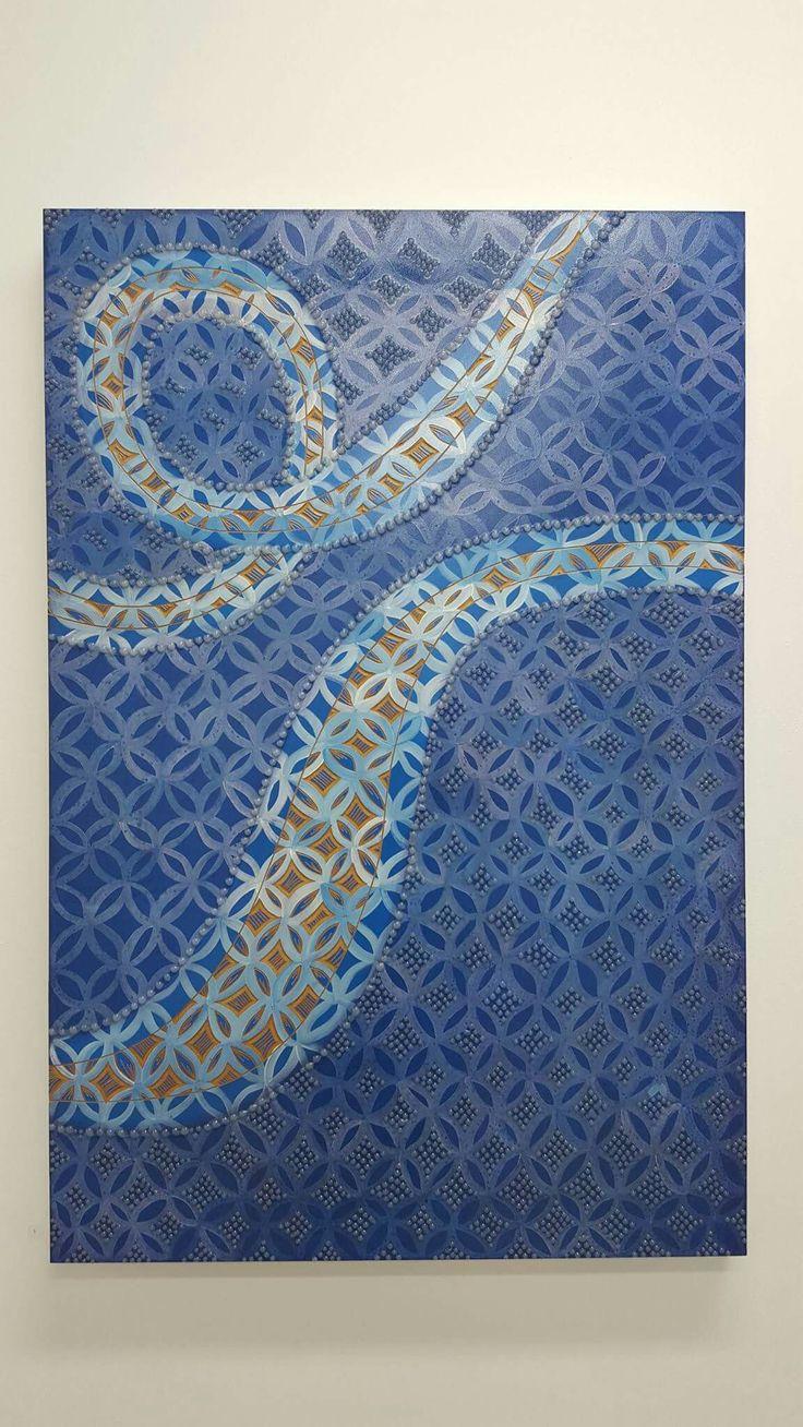 Lanumoana (Blue), 2015. Mixed Media. 120 x 79.5cm