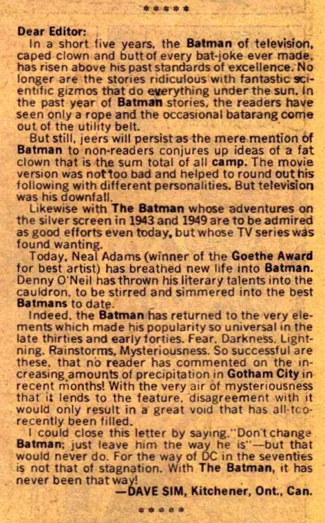 This fan letter from 15-year-old Dave Sim was printed inBatman...  This fan letter from 15-year-old Dave Sim was printed inBatman #235 published by DC Comics September 1971.