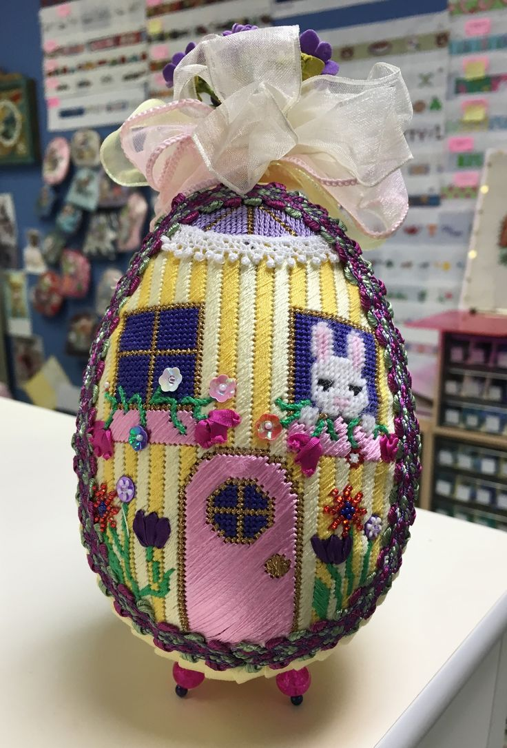 Needlepoint Egg Canvas by Brenda Stofft Stitched by Beth Lebhar of Beth's Needlepoint Nook