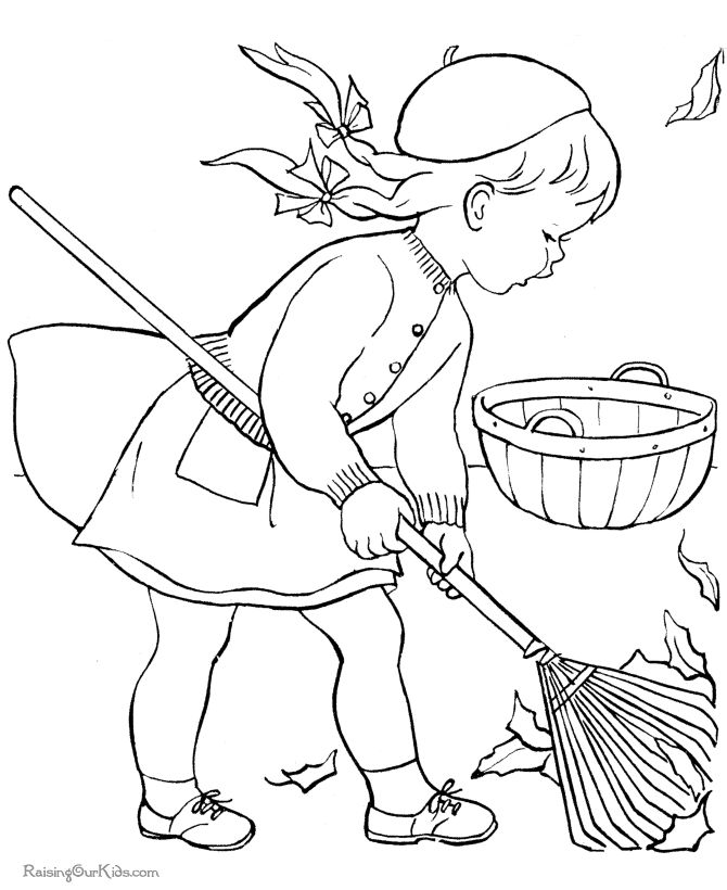 Free printable kid coloring page for Autumn