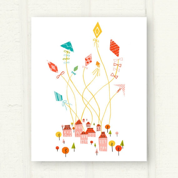 Let's Go Fly a Kite Illustrated Art Print | Kites, Lets Go and Art ...