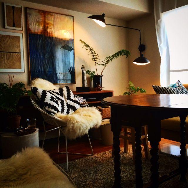 kさんの、セルジュムーユ,リビング,DIY,IKEA,照明,のお部屋写真