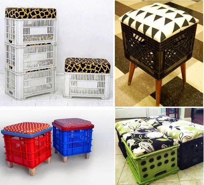 Artesanato com Reciclagem - Puff de caixa de feira, ou puff de caixote de feira. #reciclagem