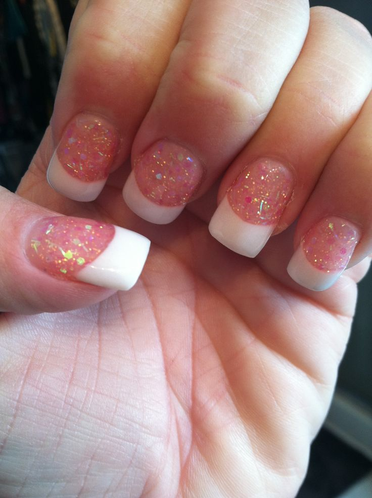 French Manicure with pink glitter! | My Nails | Pinterest