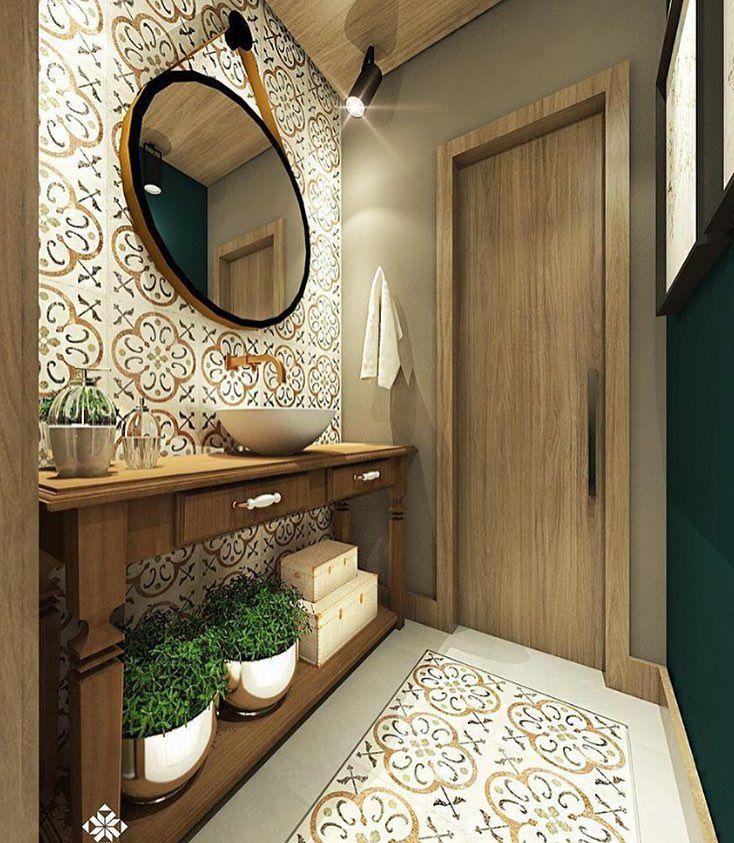 """1,262 curtidas, 15 comentários - Arquitetura de Interiores (@arq4home) no Instagram: """"Lavabo monocromático com ladrilho no revestimento de piso e parede. Projeto por Joana Ambonia"""""""