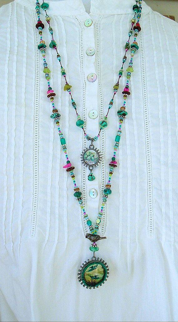 Boho Necklace, Fairytale Necklace, Long Beaded Necklace, Bohemian Necklace, Hand Knotted Vintage Birds, Nest, Bird Jewelry by Kaye Kraus