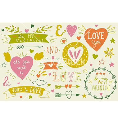 Valentines day design elements vector doodle heart and wreaths - by Julia_Henze on VectorStock®
