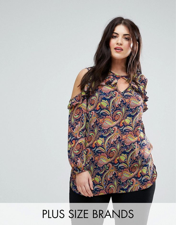 Lovedrobe Paisley Print Cold Shoulder Ruffle Blouse - Multi