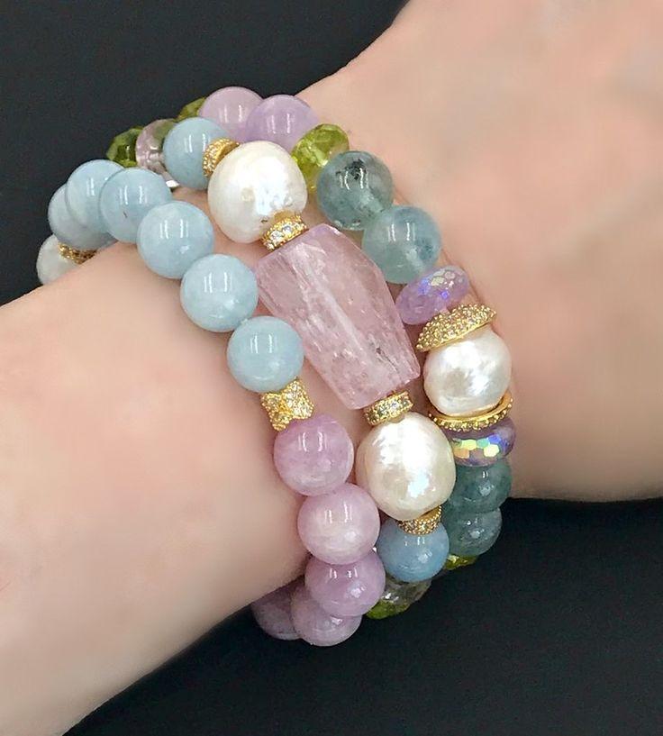 Kunzite, Pearl, Pastel Gemstone Stretch Stacking Bracelet